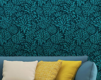 Modern Flower Damask Allover Wall Stencil for Easy DIY Wallpaper Decor - Large Floral Patterns Painted on Accent Wall Art