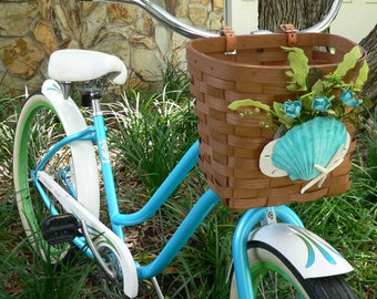 Beach Bike Basket/Beach Bicycle Basket/Made in USA/Handlebar Basekt/Beach Picnic Basket/Woven Basket/Annie Gray Design/Beach Transportation/