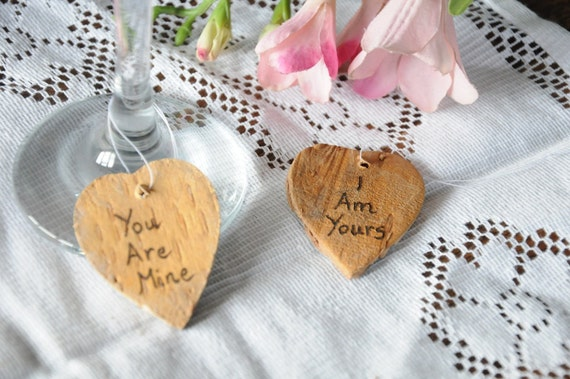 10 personalised / personalized gift tags, Rustic wedding silver birch hearts, Place names, Shabby chic tags engraved pyrography