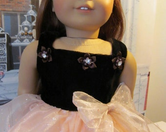 Party Dress,  Velvet Dress, Christmas Dress, 18 Inch Doll Clothes