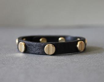 Screw Stud Soft Leather Bracelet(Black)