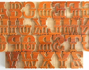 "50% OFF -A to Z - 26 Beautiful Designer Letterpress Wood Type, 2"" High - B002 - DIY"