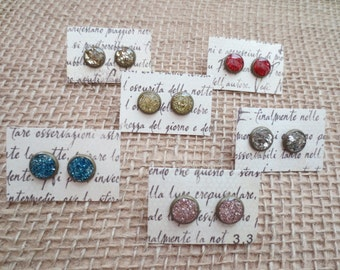 Round, glass glitter, mini stud earrings. Choose silver, red, pink, blue, gold, green or champagne color