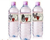 Valentine's Day  Macabre  Gothic Love Potion water bottle Labels instant download