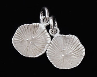 2 of 925 Sterling Silver Concave Disc Charms 10mm. Matte Finish. :th1907