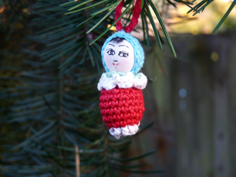 Crochet Miniature Japanese Amigurumi Doll Christmas Ornament