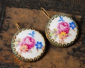RESERVED for K... Vintage earrings,  gold plated brass, with porcelain cabochons