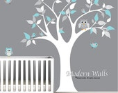 Children Vinyl Wall Decals tree decal with owls-nursery kids wall stickers