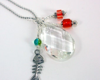 Car Charm Vintage Chandeliar Crystal with Fish Charm, Orange and Green Beads FREE Shipping