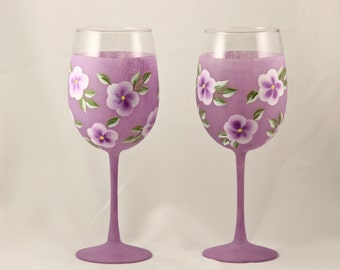 Hand Painted Wine Glasses, Purple Frosted