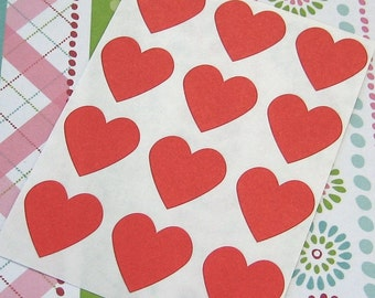 108 Heart Sticker Seals Red 3/4 inch