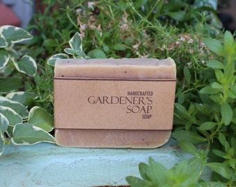 Gardener's Soap, Vegan Friendly Basil Soap, All Natural and Extra Exfoliating Handmade Soap