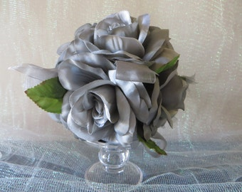 Silver Rose Kissing Ball - wedding decoration, floral pomander, centerpieces, bouquets, 25th anniversary