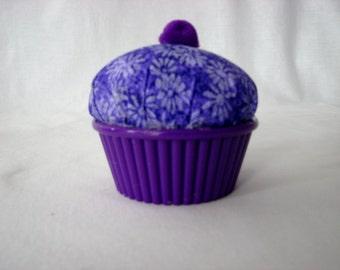 Cupcake Pincushion - Purple Daisy - ramekin cup