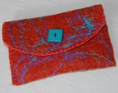 Clutch Purse  - Lined felted purse - persimmon heather felted clutch (red orange) - Wool with wool yarn and dyed silk embellishments