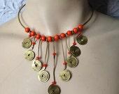 Vintage Hippie 60's Brass Dangle Choker Necklace