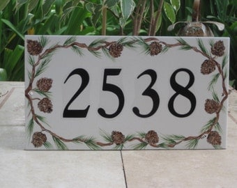 Tile House Numbers PINE CONES Address Plaque
