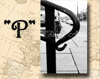 Letter P Alphabet Photography Black and White or Sepia 4 x 6 Photo Letter Unframed