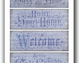 Home Sweet Home Welcome Blue Shabby Chic Embroidery Designs of Antique Samplers Collage Sheet for Decoupage Paper Journals Cottage Chic 498