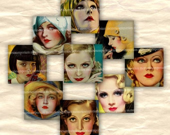 Hollywood Film Movie Stars Digital Collage Sheet 20s 30s Starlets Squares Twenties Thirties for DIY Buttons Pendants Jewelry Decoupage 580
