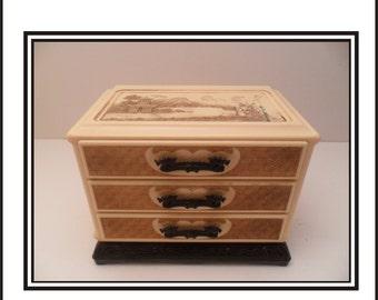 Japanese Themed Vintage Dresser Top Jewelry Box