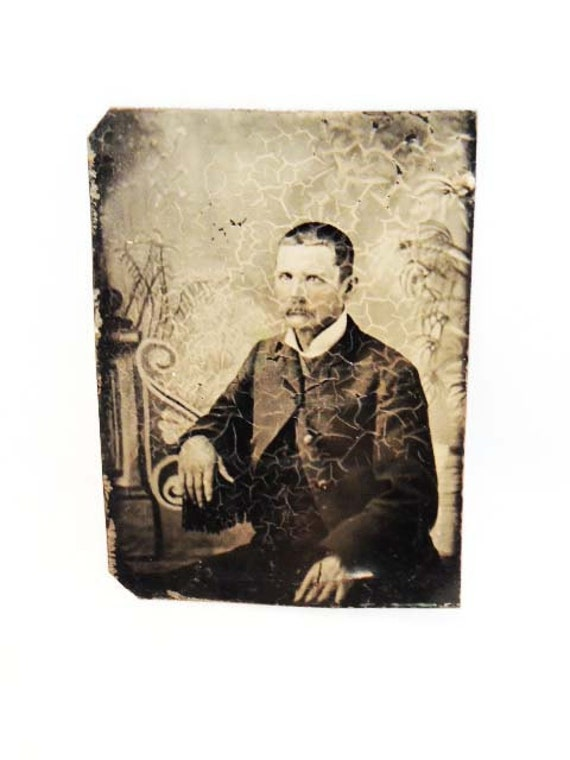 Antique 1800's TINTYPE PHOTO PHOTOGRAPH Middle Aged Man With Moustache & Mad Face