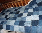 Blue Jean rag shabby chic bed table cloth picnic lap quilt Custom crafted