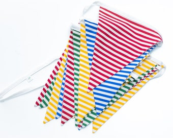 Colorful Stripes - Primary Colors - Party Decoration, Photo Prop - Fabric Flag Bunting