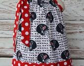 Girls Houston Texans and Red Polka Dot Pillowcase Dress