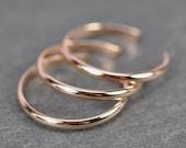 Rose Gold Toe Rings, Set of 3 Skinny Stacking Adjustable Rings, 14K Rose Gold fill, Kristin Noel Designs