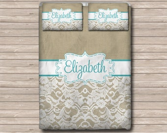 Custom Personalized Monogram Soft Duvet Cover OR Comforter Set - Toddler, Twin, Twin XL, Queen, or King - Burlap & Lace