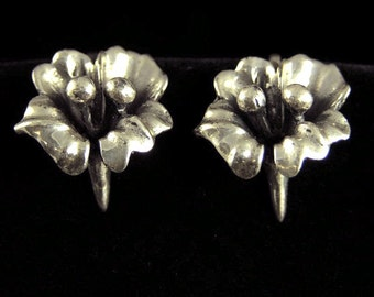 Sterling Silver Flower Earrings (No. 758)