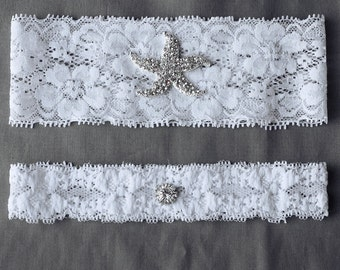 Wedding Garter Bridal Garter Set White or Ivory Lace Garter Belt Rhinestone Crystal Starfish Garter Belt Beach Wedding GR060LX