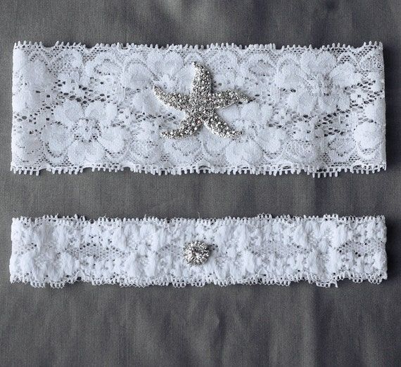 Wedding Garter Bridal Garter Set White or Ivory Lace Garter Belt Rhinestone Crystal Starfish Garter Belt Beach Wedding GR060LX