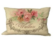 Lumbar Romantic Rose Frame Custom Name Oblong in Choice of 18x12 20x13 24x16 Inch Pillow Cover