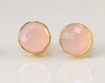 Pink Chalcedony Stud Earrings - October Birthstone Studs - Gemstone Studs - Round Studs - Gold Stud Earrings - Post Earrings