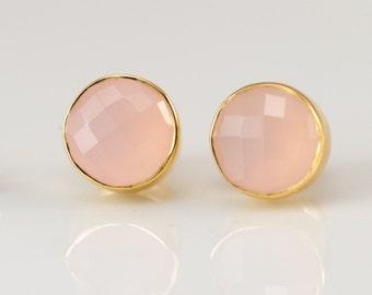Pink Chalcedony Gold Round Stud Earrings, October Birthstone Earrings, Crystal Earrings, Bridesmaids Earrings, Gift for Her, Rose Quartz