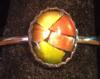 AMMOLITE RING sterling silver size 6.5 up to size 7.5