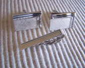"""Vintage 70's """"SWANK CUFF LiNK SET"""" Silver Toned  Set with Tie Clip"""