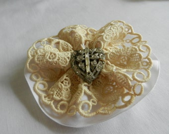WhiteRibbon with Lace and Rhinestone Accent Comb