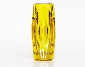 Vintage Large Czech Bullet Glass Vase - Rudolf Schrötter for Sklo Union 50s 60s