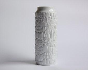 Mid-Century German White Porcelain Vase - Cobblestone Motif Kaiser 60s