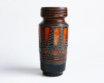 Mid Century Brown / Orange  Fat Lava Vase - VEB 70s (2)