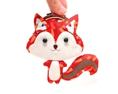 Chili red cute squirrel clutch purse