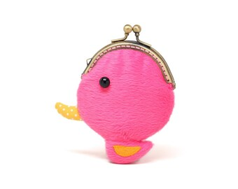 Tiny pink duck coin pouch