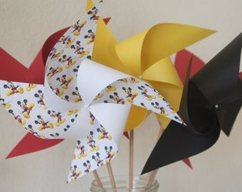 Mickey Mouse Party Decor Centerpiece 6 Large Pinwheels Mickey (custom orders welcomed)