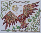 Celtic Style Owl Drawing 8x10 Print