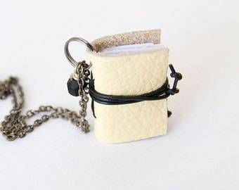 Miniature book necklace mini book jewelry, eco friendly leather book pendant, blank book lover, literature jewelry, leather journal - yellow