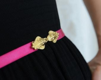 Dress belt, Fuchsia Waist Belt, Bridesmaid Belt, Gold Pink Belt, Dainty Belt, Skinny Belt, waist belt, wedding sash, bridesmaids accessory