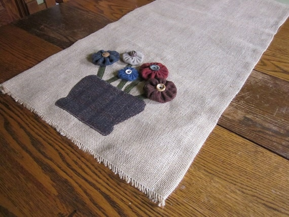 etsy applique runners burlap table wool runner, table Burlap